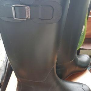 Kamik Black Knee High Rain Boots w/Red Bottoms